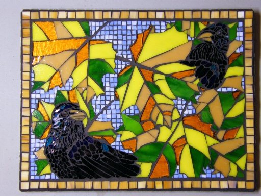 "Hide and Seek - Glass Mosaic 15.5"" x 12"" $450.00"