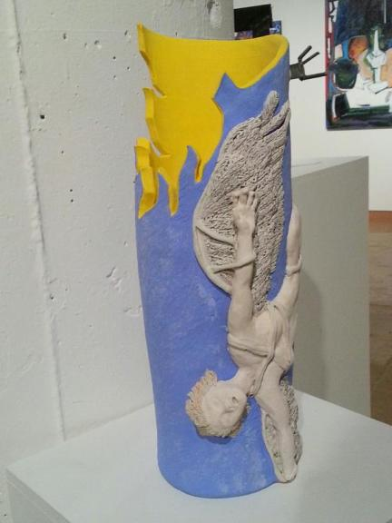 Ceramic Sculpture depicting the fall of Icarus.